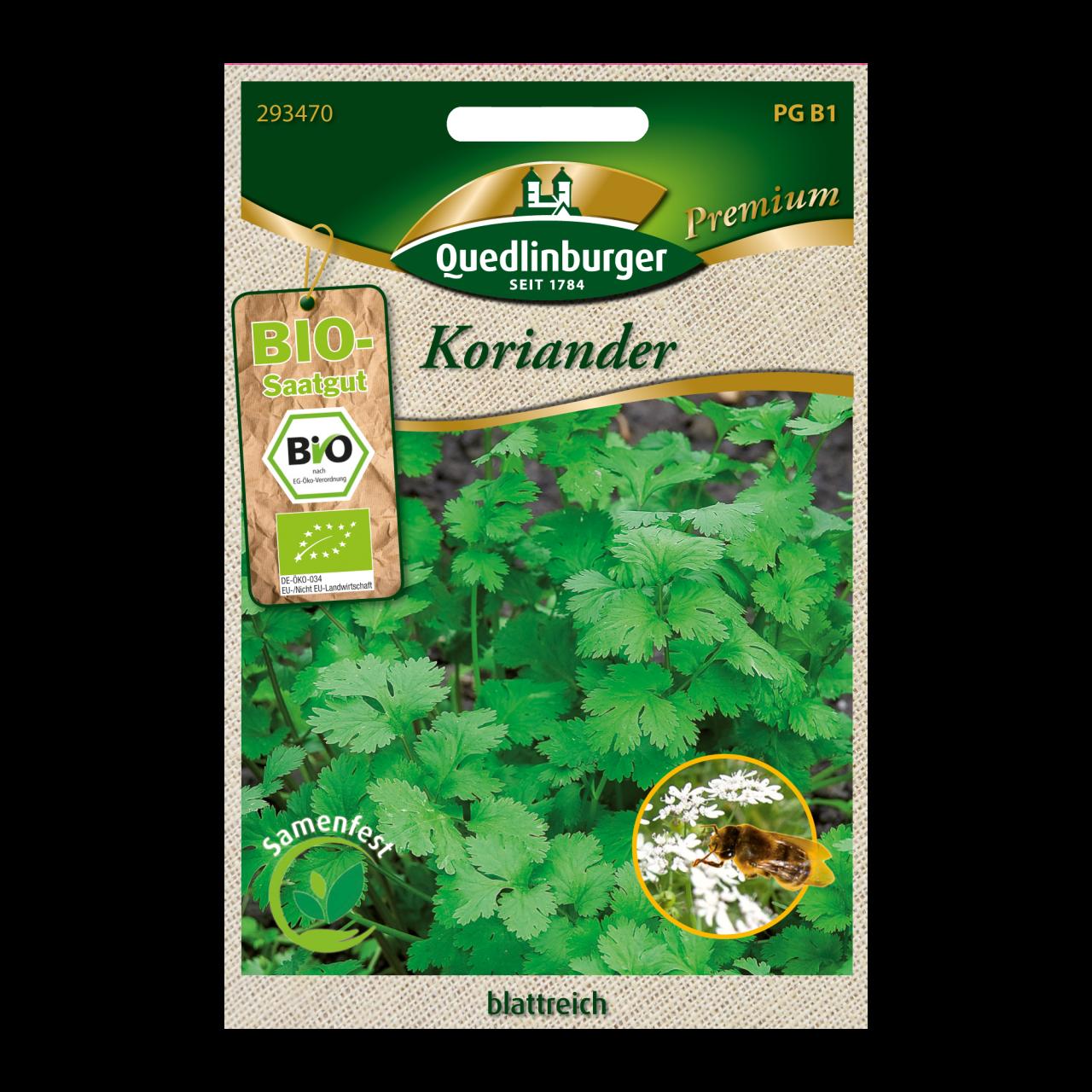 Quedlinburger Saatgut blattreicher Koriander Vorderseite