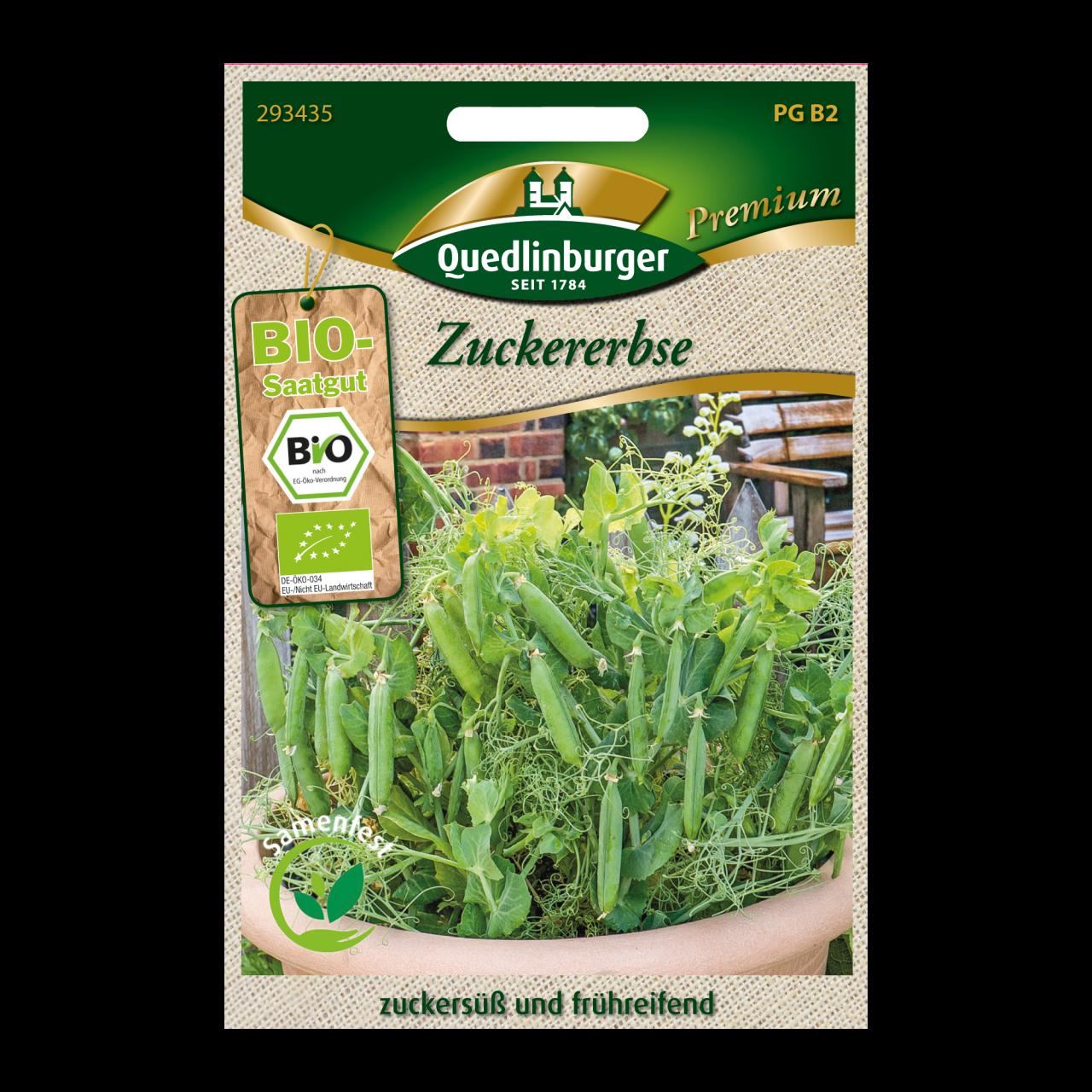 Quedlinburger Saatgut Zuckererbse Vorderseite
