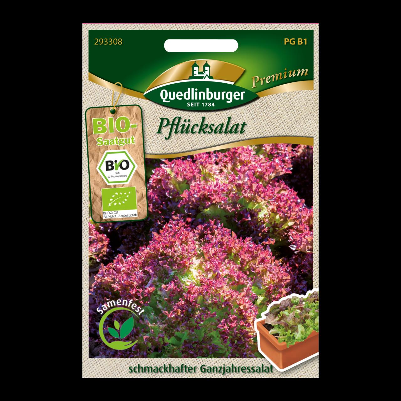 Quedlinburger Bio-Pflücksalat rot Vorderseite